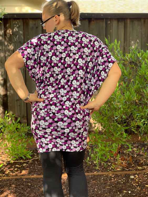 Back of the knee length dress when worn as a tunic and short sleeved.