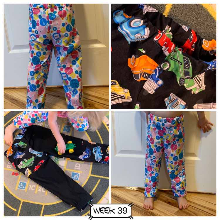 Four images of the Celine trousers. A closeup of Zoey wearing her pants is in the top left (back) and bottom right (front). Top right shows a close up of Ada's buttonholes were you can add a drawstring. Bottom left has a flatlay of Ada's pants while Zoey drives a Duplo car over them while wearing her pants.