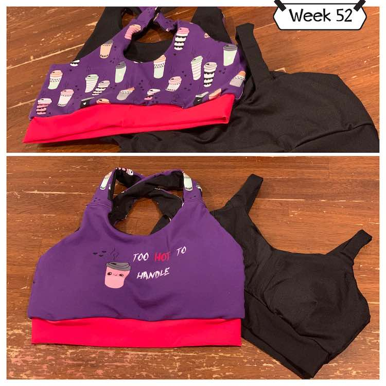 """Top image shows the back of both bras while the bottom image shows the top. The Lovesick (underneath the other bra) was made with black fabric while the Brazi was lined with black and used an adult underwear rapport for the outer fabric stating """"Too hot to handle"""" and showing an adorable travel cup."""