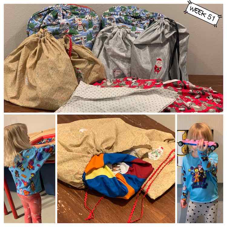 Four images showing this week's sews. The top image shows all the gift bags (mostly filled) while the bottom center image shows a closeup of the two bags I used for last week's peppermint swirl dresses. I also sewed two LEGO® movie shirts that are shown by Zoey (left) and Ada (right).