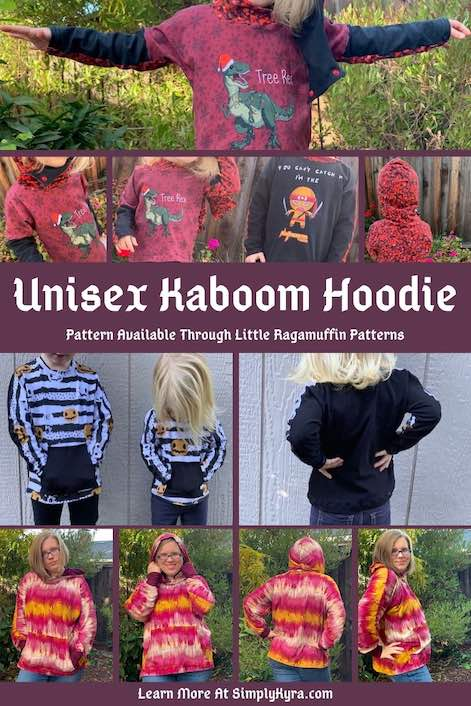 Pinterest image showing a mix of images of the Kaboom hoodies I sewed up. All images are also shown below.