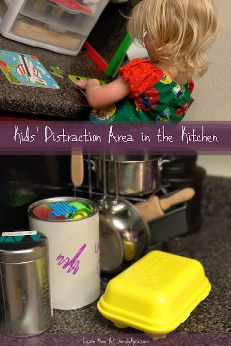 Pinterest image showing two images, both of which are shown below, so you see Zoey building a puzzle in the top and the kitchen setup I had for Ada.