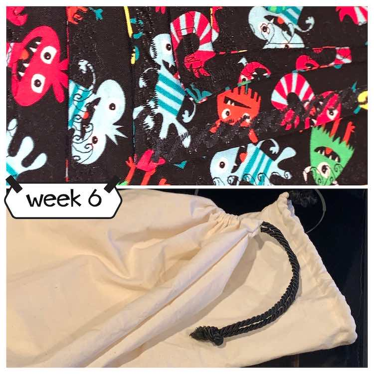 "Image shows a collage of two photos and the text ""week 6"". The top photo shows woven monster napkins with top-stitching while the bottom image shows a cinch topped white bag."