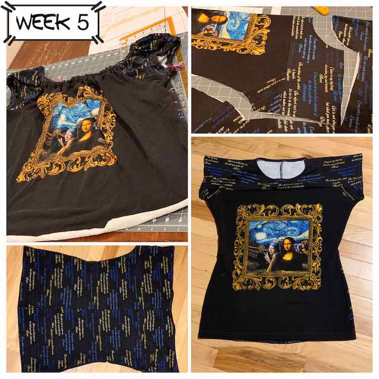 "Image shows a collage of four distinct images along with text saying ""week 5"". The two larger images at the top left and bottom right corners show the first version of the top back from 2018 along with the finished garment this week. The upper right image shows the pattern piece cut from my squared up fabric and the bottom left image shows the back of the shirt on it's side."