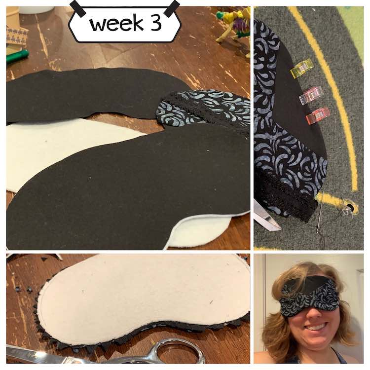 Image shows a collage of found images separated by a white strip. The top left image, show the different layers of the mask, is the largest and the bottom rightmost image, of me wearing the finished mask, is the smallest. The top right image shows a closeup of the section I hand stitched closed while the bottom left image shows the inside out mask with the seam allowance carefully trimmed.