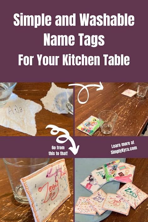 Pinterest image including the title of the blog post and four images that are also included down below. This shows the previously used paper towel scrap uses and three images of the final washable name tags.