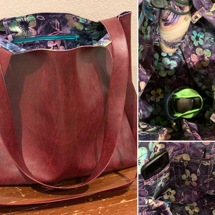Image shows a collage with three photos. The left one takes the whole height of the image and shows the side of a a leather-looking tote. The right top image is looking down into the tote showing the flowered fabric and two water bottles attached via a fabric looped. The last image at the bottom right shows the inner openings in the pocket holding a pen and a phone.