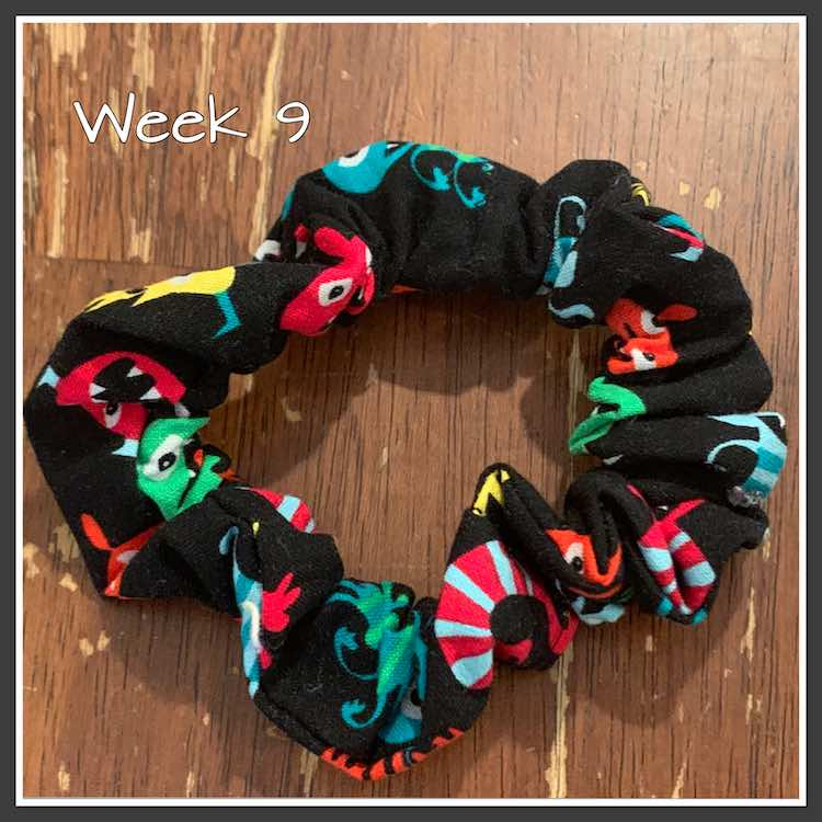 "Image shows a black Scrunchie covered in squashed colorful monsters. It's laid over a brown table. The image is overlaid with the text ""week 9"" in white. The image is bordered in white and black."