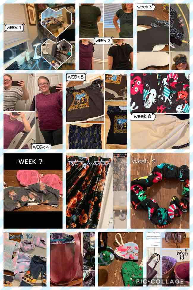 Image shows a collage containing all of the above images showing the first 13 weeks of completed sews for 2020.