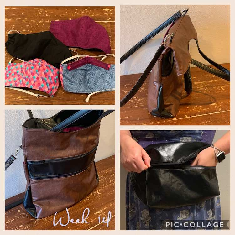 "Image shows a collage of four photos include the text ""week 14"". The top right and bottom left images shows two different views of the Swoon Patterns Expedition Tote made with brown and black vinyl. The top left image shows four face masks including a channel for a pipe cleaner. The bottom right image shows a black shiny vinyl fanny pack."