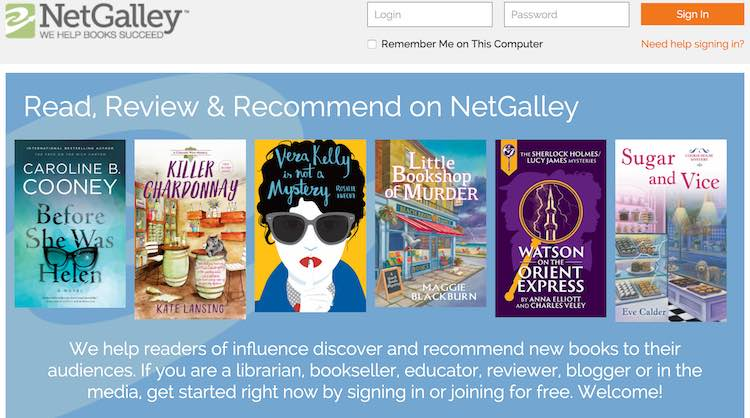 Screenshot of NetGalley's homepage.