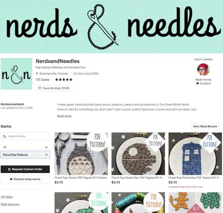 Screenshot of the Nerds & Needles Etsy page showing some of her amazing embroidery patterns.