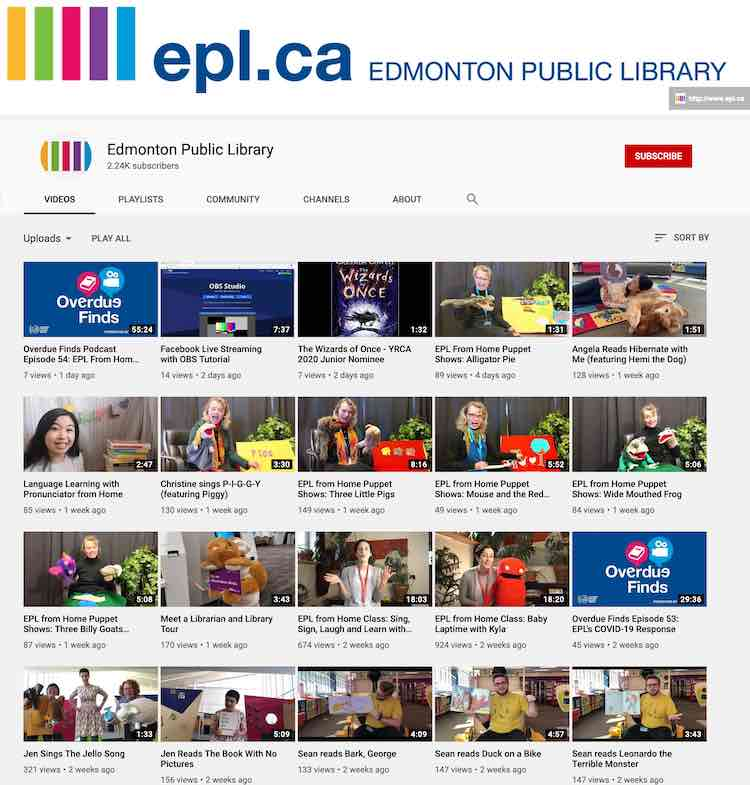 The first four rows (five across) of the Edmonton Public Library's videos hosted on YouTube.