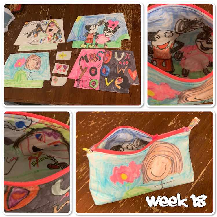 "Image is a collage of four photos of a colorful pencil pouch with the words ""week 18"" at the bottom in white. The top right image shows all the pattern pieces cut out. The bottom right image shows the finished pouch halfway open. The last two images shows the inside once it was sewn together."