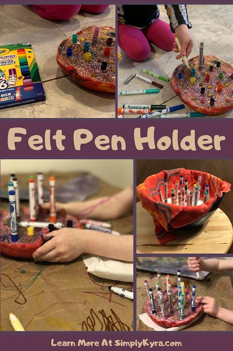 Pinterest image showing a collage of five images (all shown below) of the felt pen holder along with the title and URL of my blog post.