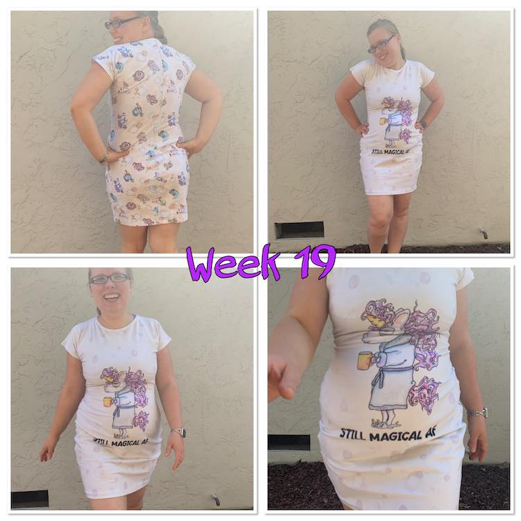 "Image shows a grid of four images with the words ""week 19"" in purple over the center. All four images shows me in a fitted nightgown tee."
