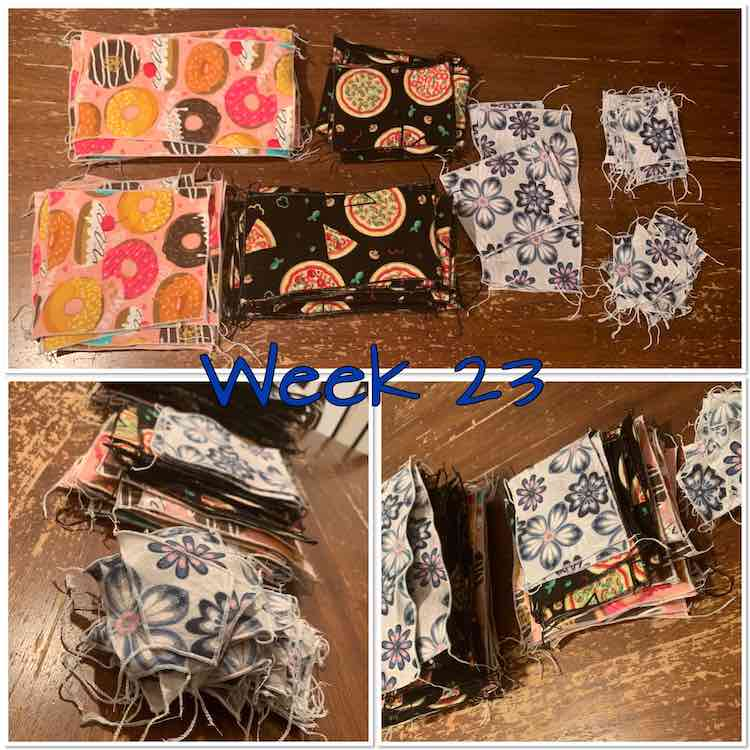 "Image shows a collage of three views of the snuggle flannel napkins and makeup wipes. Overlaid in the center the text says ""week 23"". There are a few grey flowered napkins but most are a combination of rectangular and square donuts on pink and pizzas on black."