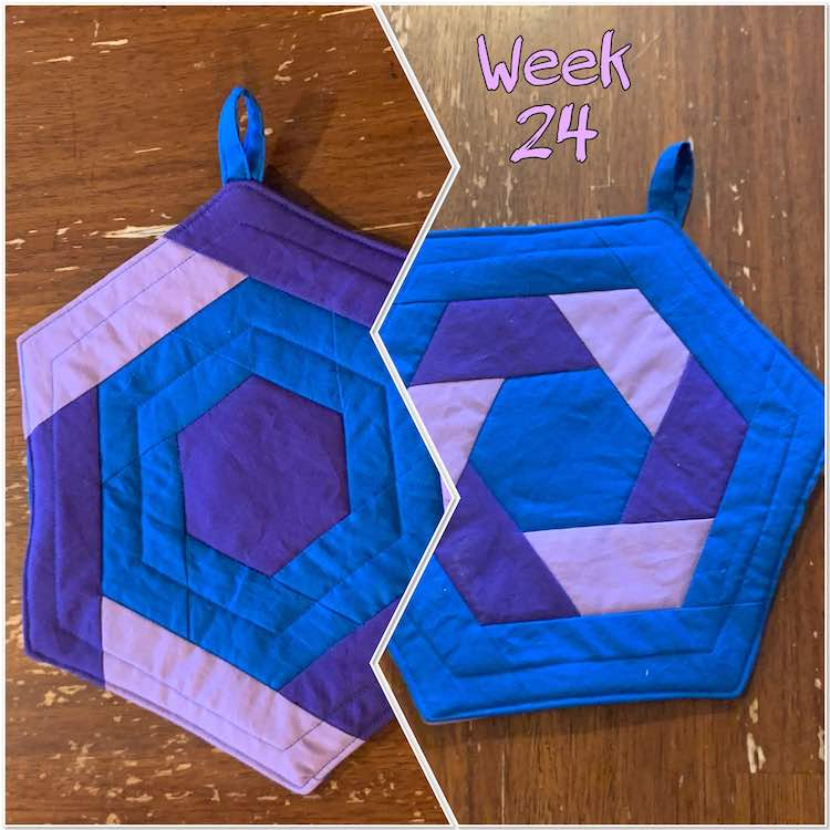 "Image shows two photos side by side showing the potholder. The left image shows a purple center, blue in the middle, and alternating strips of lavender and eggplant around the outside. The right image shows a reverse with blue in the center and outer row and alternating lavender and eggplant in the middle. Above the right image it says ""week 24"" in lavender."