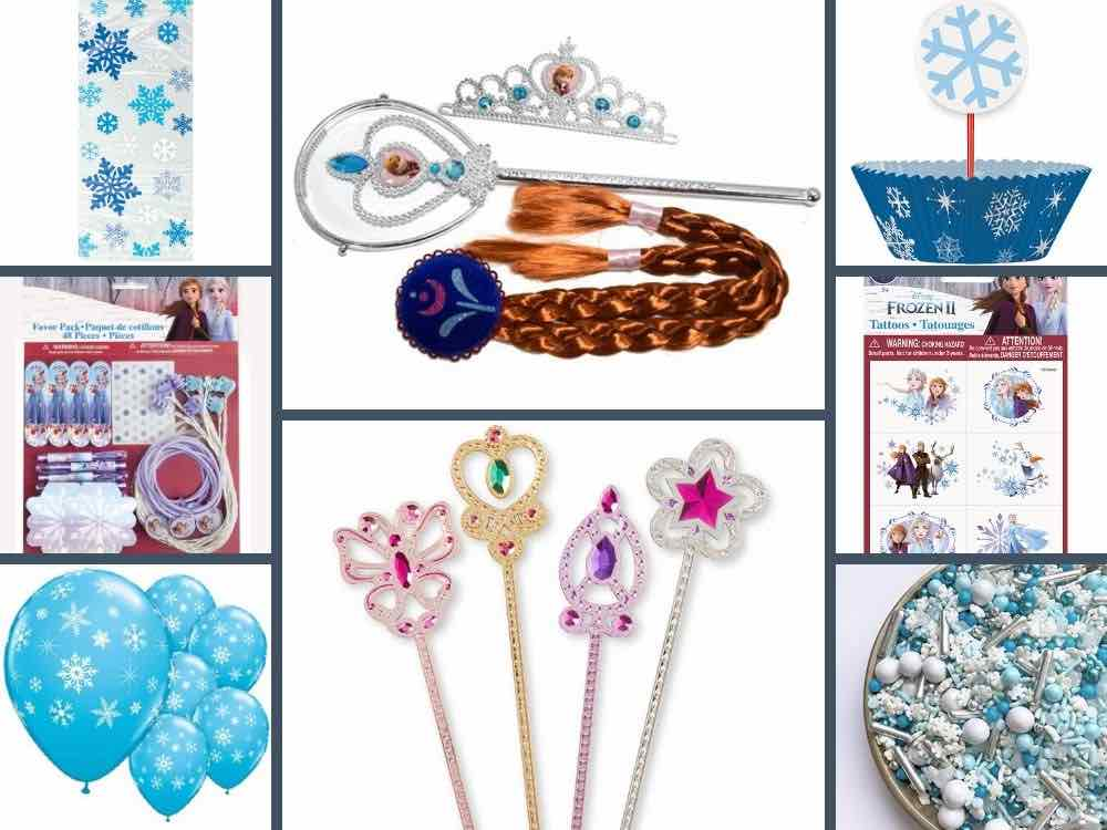 A collage of eight product images taken from Walmart.com. These include, in columns top to bottom from left to right, the cellophane bags, favor variety pack, snowflake balloons, Anna accessory kit, Melissa and Dough wands, cupcake kit, tattoos, and snow sprinkles.