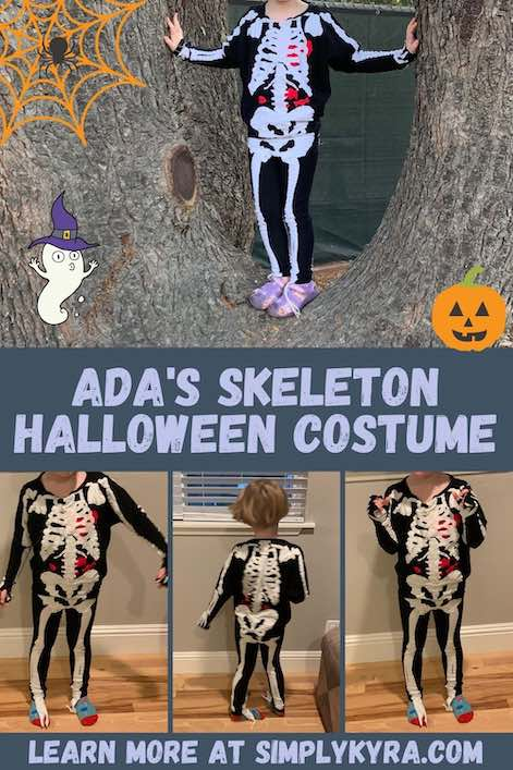 Pinterest image showing four skeleton images (all shown below too), the blog title, my main URL, and a couple Halloween-themed clipart.