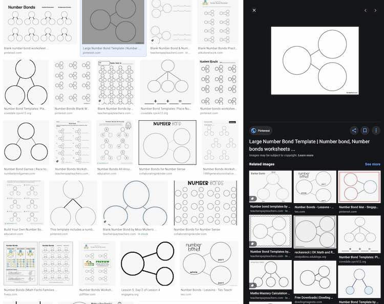 Image shows the Google image search results (see above image) with the right side of the screen changed. Now it's showing the blank three circle number bond along with the name, source, and related images below.