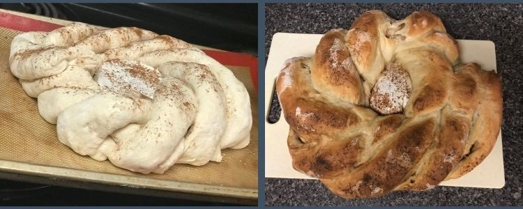 Again this image shows two different images. On the left you see an unbaked circular loaf with brie in the center and ropes of bread coming out of the center like a flower. The photo is taken from the side. On the right you see a photo taken from above looking down at a browned loaf sitting on a plastic cutting board. The flower is less apparent but still there and the brie isn't browned yet is sprinkled with cinnamon.