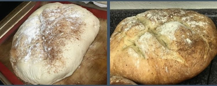 Image shows two photos side by side. The image on the left shows the unbaked loaf blob on a silpat sheet sprinkled with flour and cinnamon. On the right you can see the baked final loaf.