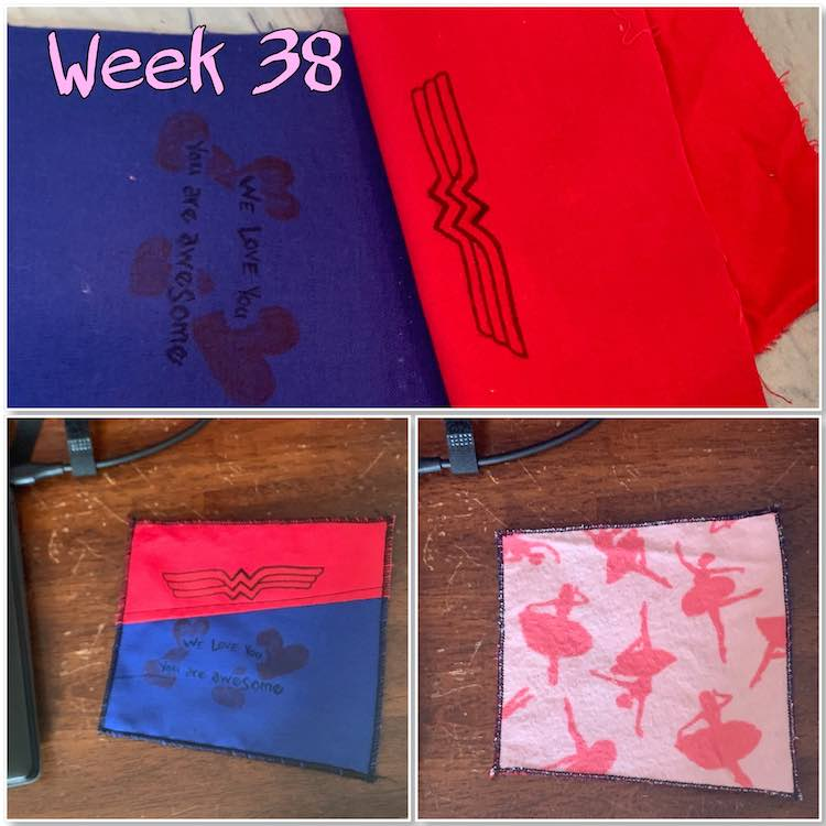 "Image is a collage composed of three photos and the text ""week 38"". The first image takes up the top half of the collage shows two designed pieces of fabric (red and blue) laid out checking where the seam should go to piece them together. The bottom two images show the finished slightly square-ish coaster with the decorated top on the left and the fuzzy ballerinas on the right."