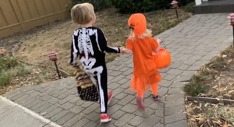 Back view of the girls holding hands and walking towards a house while holding their bags with the other hand.