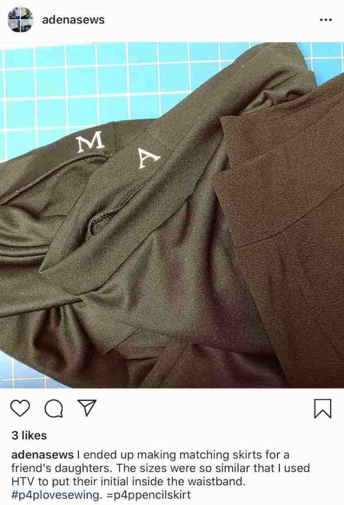 Image shows a screenshot taken from Instagram from @adenasews' account. It shows two black skirts with a single white initial on the two waistbands: M and A.