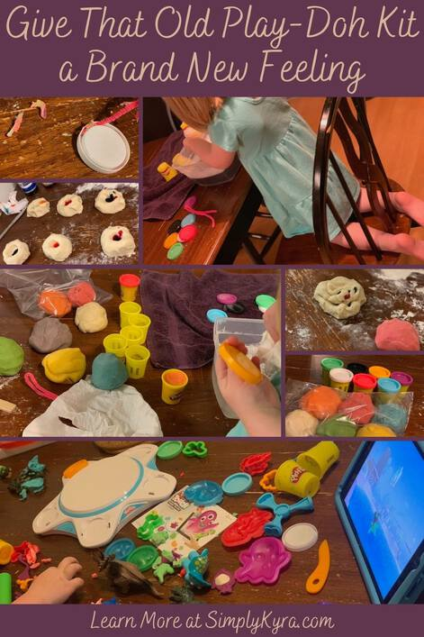 Image to pin this post to Pinterest. The top has the blog title, the bottom has my main URL, and the middle shows a collage of seven images, shown below, showing the process we took to clean the containers, make playdough, and refill the containers.