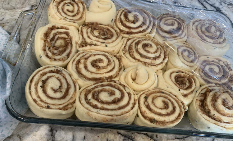 Image shows the apple stuffed cinnamon rolls placed in a glass casserole dish with plastic wrap partially covering them.