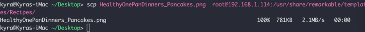 Image is a screenshot of my terminal after I uploaded the HealthyOnePanDinners_Pancakes.png image file.