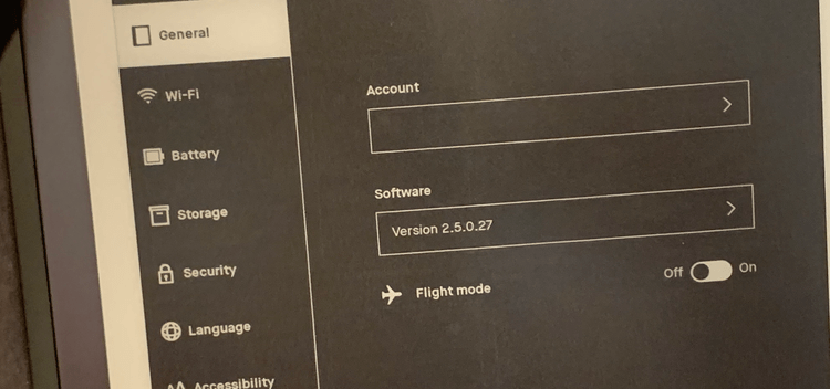 Image shows the General settings featuring the reMarkable's account (hidden here), software version, and switch to turn flight mode on or off.