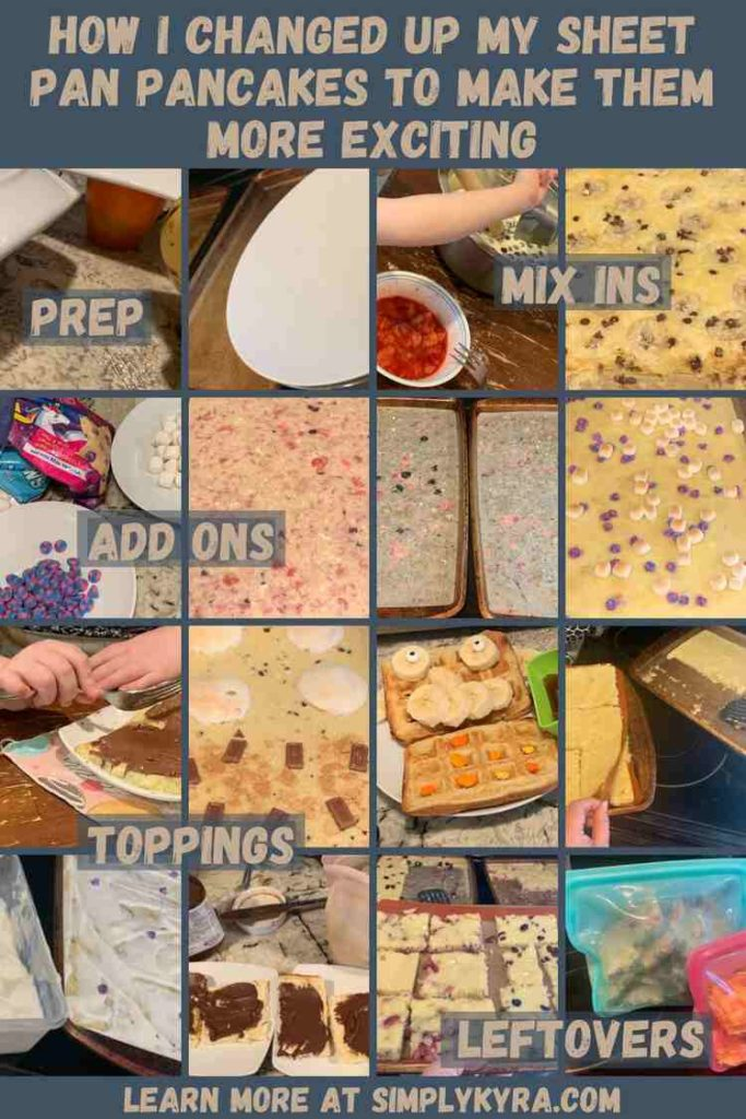 Pinterest Image containing the blog post's title, my main URL, and between the two a grid of sixteen photos. There's text overlay saying prep, mix ins, add ons, toppings, and leftovers.