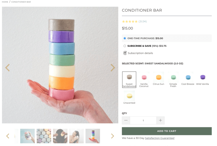 Image shows the a screenshot from the earthing co. showing seven conditioner bars stacking in a person's hand. In the caption there's a link to this website.