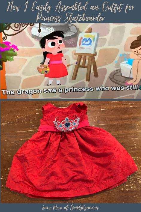 """Pinterest geared image showing the post's title, a screenshot from the video displaying the text """"The dragon saw a princess who was still"""", an image of the final outfit, and my main URL."""