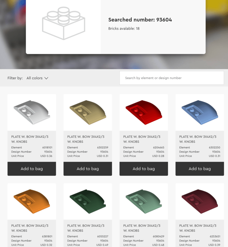 Image shows the Buy Bricks search showing the header with a blank image, the searched number, and listing 18 bricks available. Below the top two rows of the search results are included showing eight different colors of that item ranging from 28 to 48 cents depending on the color.