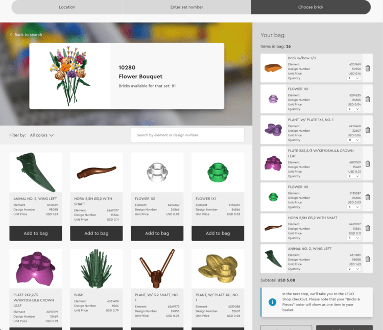 """Image show the LEGO® Bricks & Pieces storefront with the """"Choose Brick"""" option selected at the top. The flower bouquet was searched for and 26 bricks from that collection was chosen and shows up in the """"bag"""" on the right side of the photo."""