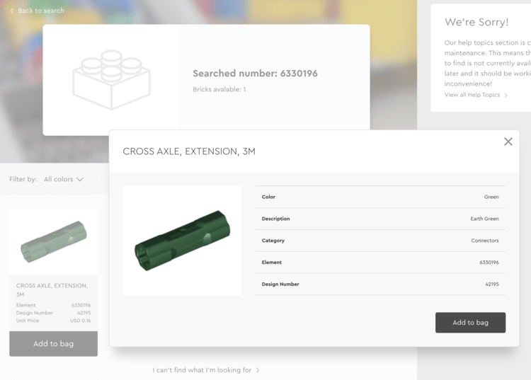 """Image shows the Customer Service portal with the header missing the main image and display that only one brick patched the searched number. Below on the left you can see the element with an """"Add to Bag"""" button while on the right is a popup showing all the information about that part including the design number of 42195."""