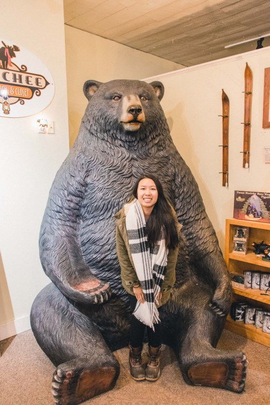 Bear in Quechee Gorge Shopping Village in Vermont - Simply Lovebirds
