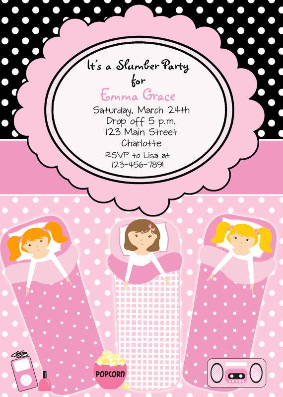 diy girls sleepover pajama party invitation 4x6 digital order only birthday party digital order invite 5