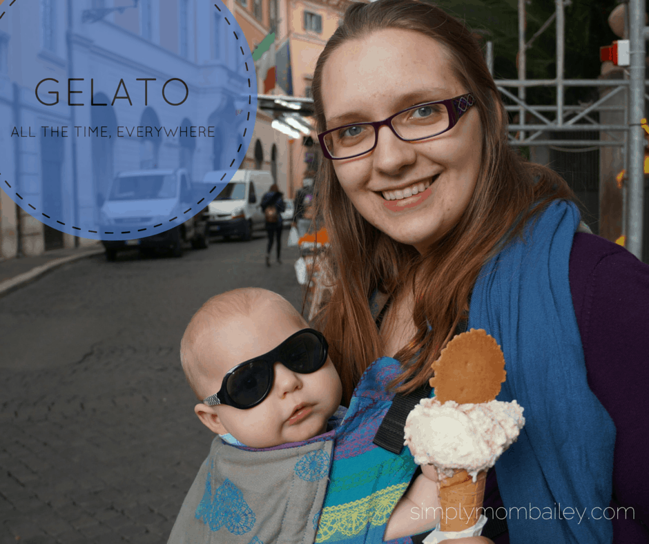 baby wearing mom with gelato in Rome, Italy