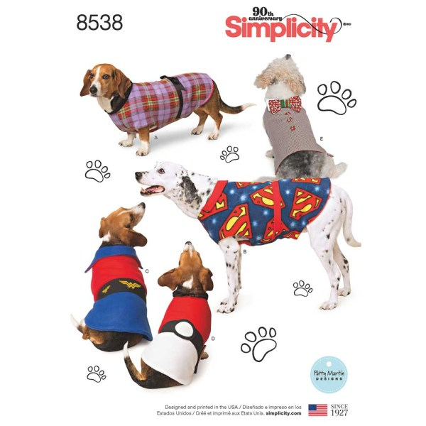 8538 simplicity dog coats pattern 8538 a envelope