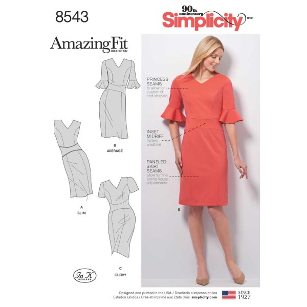 8543 simplicity amazingfit dress pattern 8543 a envelope