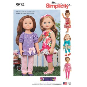8574 simplicity 14inch doll clothes pattern 8574 a envelope view
