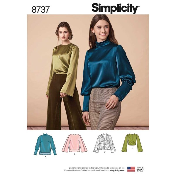 8737 simplicity top silky blouse pattern 8737 a envelope
