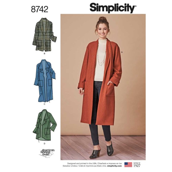 8742 simplicity coat cardigan pattern 8742 a envelope