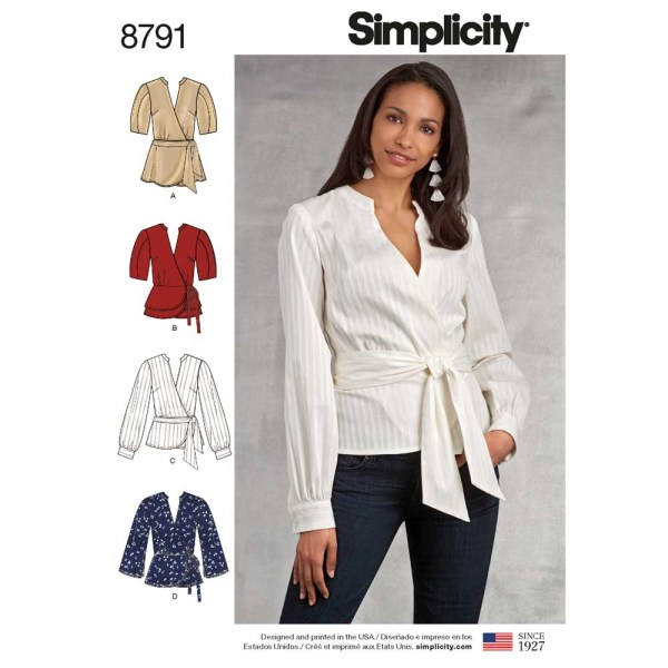 8791 simplicity woven wrap top pattern 8791 a envelope