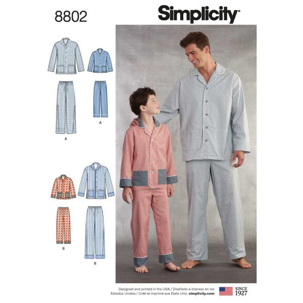 8802 simplicity father son classic pajamas pattern 8802 a envelope